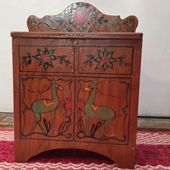 Hand Made Other - Handmade Doll Furniture Painted Llamas on Front